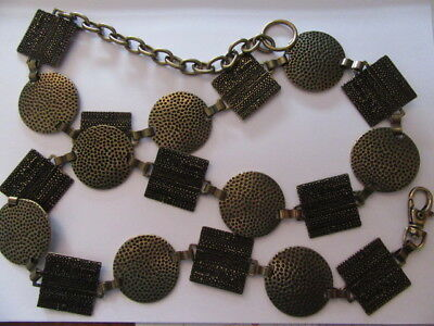 Vintage 1990'S Brass Effect Round And Square Hammered Metal Chain Link Belt