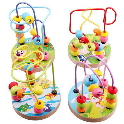 Baby Wooden Around Beads Boys Girls Interactive Toy Early Educational Toys Gifts