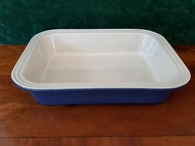 LE CREUSET FRANCAISE  LARGE RECTANGULAR 31 cm BAKING DISH BLUE AND CREAM