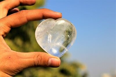 """Beautiful 2""""inches Lovely Clear Crystal Quartz Stone Minerals Puffy Heart"""