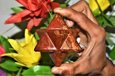 Nice 70MM Red jasper Stone Reiki Chakra Minerals 6-Pointed Ezyptian Merkaba Star