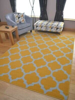 Ochre Mustard Gold Silver Grey Runner Small Extra Large Long Carpets Rugs Cheap