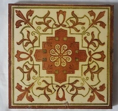 Gorgeous Regal Symmetrical English Floral Design Victorian Tile Moorish 19Th C