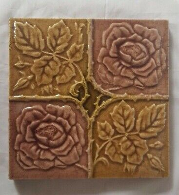 Floral Quadrant Design English Majolica 19Th Century Tile