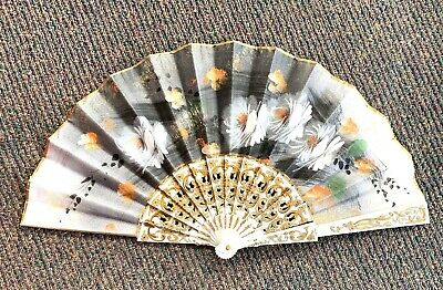 "Vintage Japanese Hand Fan ""Mother Of Pearl"" Inlay"