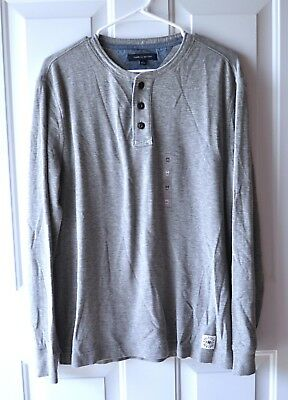 79e52528 NEW Tommy Hilfiger Mens Size M Gray Thermal Henley Shirt Long Sleeve Logo