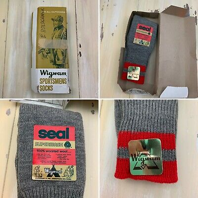 WIGWAM SEAL - Vtg NEW Gray Worsted Wool Superwash Outdoors Hunting Socks, Sz 11