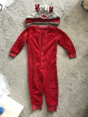 Matalan Childrens Christmas Jumpsuit One Piece Size 2-3 Years Rudolf red nose