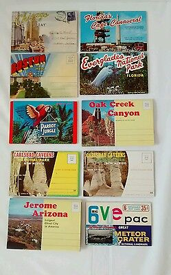 Vintage Fold Out Postcards Lot Linen Mid Century Cape Canaveral Chicago