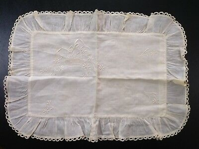 Handmade Small Embroidered Crocheted Trim Pillow Cover Case Antique Vintage