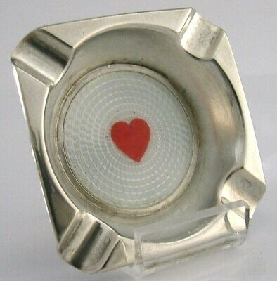 Unusual Love Heart Solid Silver Enamel Ash Tray Playing Cards 1924 Antique