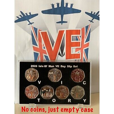 2020 Isle Of Man DISPLAY CASE 75th anniversary VE VICTORY 50p coin ( NO COIN )