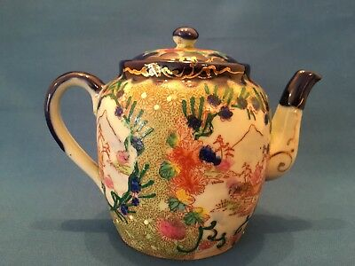 Antique Japanese Hand Painted Mount Fuji Teapot c1920  - height of 11cm