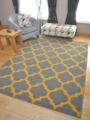 Grey Mustard Gold Trellis New Modern Small Extra Large Floor Carpets Rugs Cheap