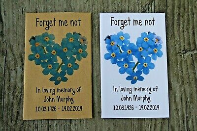 100 Personalised Funeral Seed Packets Favours Forget Me Not Keepsake Remembrance