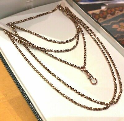 Antique 9ct. Rose Gold Guard/Watch/Muff Chain with Clip. 58 in. 22gm.