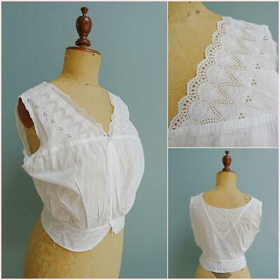 Antique Camisole Victorian Ladies Floral Embroidered Whitework Cotton c1890
