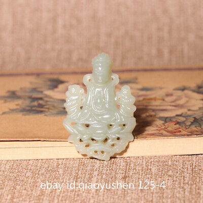 42MM China Hetian Bluish White Jade HandCarved Children-Sending Kwan-yin Pendant