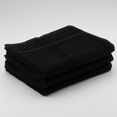 12 x Black Hairdressing Towels Gym Barber Salon Beauty Towels 50x85cm