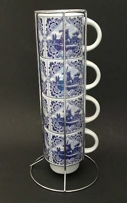 Delft Blue Hand Painted Mugs Cups Stacking Chrome Stand Holland Windmills