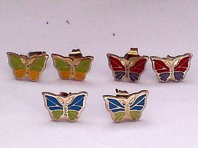 3 PAIRS of TINY BRASS CLOISONNE STYLE 8mm BUTTERFLY STUD EARRINGS £10.95 NWT
