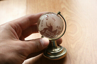 Miniature Crystal Glass World Globe on Gold Colour Metal Stand Paperweight Decor