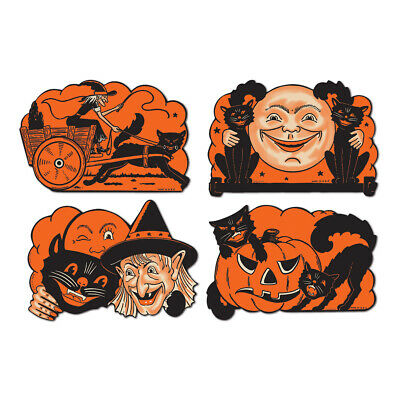Vintage Halloween 4/pkg BLACK CAT Cutouts Witch Wagon Moon JOL Pumpkin Beistle