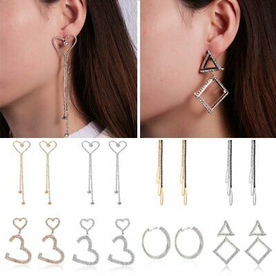 925 Silver Fashion Women Circle Long Tassel Zircon Drop Dangle Earrings Jewelry