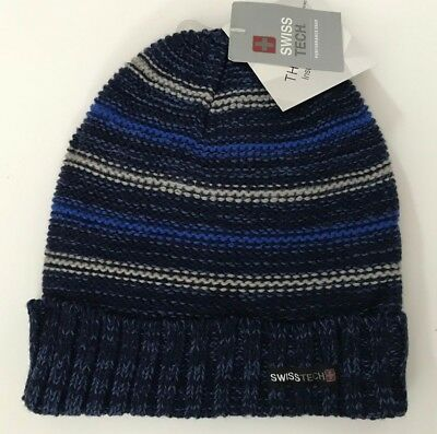 bfd4d15aa9d9c Swiss Tech Boys Youth Performance Gear Knit Winter Hat Fully Lined Blue NWT