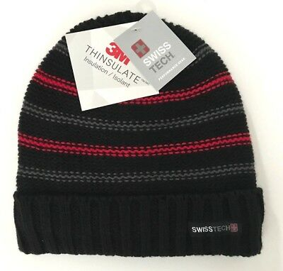 9e90571f830b4 Swiss Tech Boys Youth Performance Gear Knit Winter Hat Fully Lined  Red Black NWT