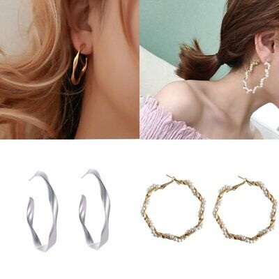 Fashion Women Plain Circle Pearl Ring Twist Hoop Earrings Simple Jewelry Gift