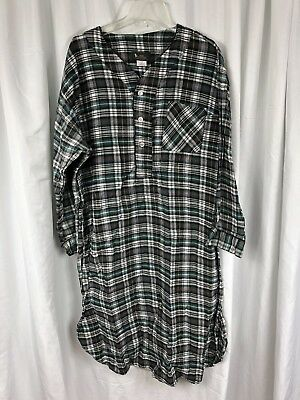 Bert Pulitzer Pure Cotton Flannel Plaid Sleep Shirt Nightshirt Dress Mens L / XL
