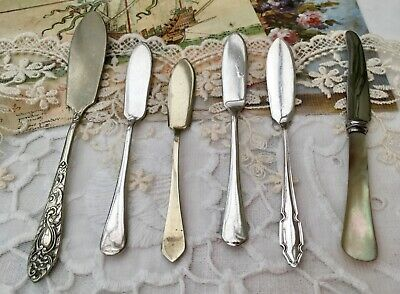 ANTIQUE CUTLERY 6PCE EPNS SILVER PLATE BUTTER KNIFE SPREADERS 1x HALLMARK 1925