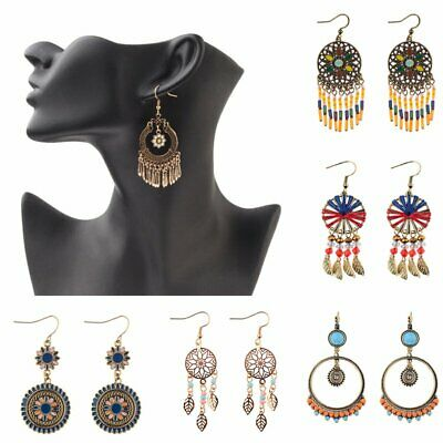Women Vintage Bohemia Ethnic Tassel Hanging Drop Dangle Earrings Jewelry Gift