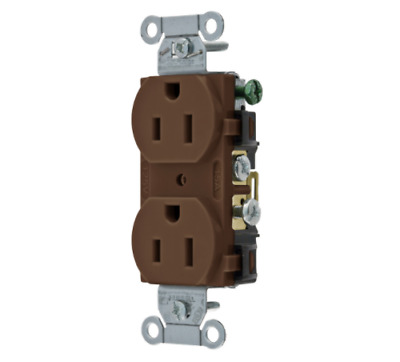 Hubbell CR15 15A 125V 2-Pole 3-Wire Grounding 5-15R Brown Duplex Receptacle