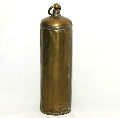 Antique Brass Bed Warmer Hot Water Bottle Vtg Container with Stopper 12 inch