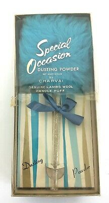 Vintage NOS Charvai Special Occasion Dusting Powder w/ Lambs Wool Puff Unused