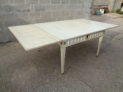 Large  Painted Kitchen Dining Table Green Tinge Vintage