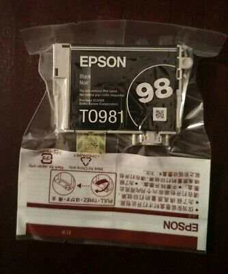 NEW SEALED Epson Black 98 Ink Cartridge T0981 Artisan GENUINE OEM no retail box