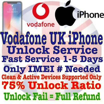 Unlock Service For Apple iPhone 6S 6 5S 5C 5 SE 4S 4 Unlocking VODAFONE UK