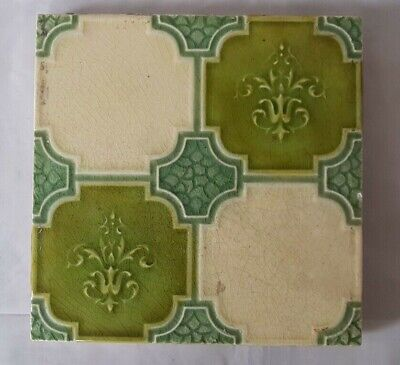 Charming Geometric Majolica Victorian 6 Inch Tile  19Th Century