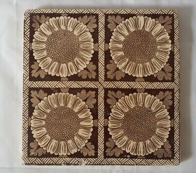 Elegant Symmetrical Sunflower Design Victorian  6 Inch Tile From 19Th Century