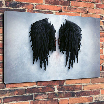 "Banksy Black Angel Wings Stunning Printed Canvas Picture A1.30""x20"" 30mm Deep"