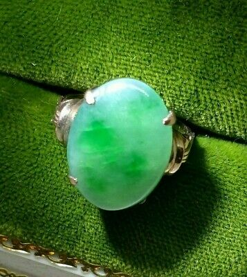 Antique 14K Rose Gold Green and White Jadeite Jade Cabochon Ring Chinese Import