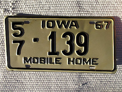 1967 IOWA MOBILE HOME License Plate Tag #57-139 Unused Antique Plate
