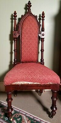 ANTIQUE Victorian Carved Mahogany GOTHIC REVIVAL Hall / Slipper / Side Chair