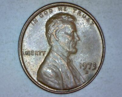 1973 D Lincoln Memorial Cent, Penny, Off Collar, Small Error - Nice Coin #0346