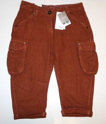 Next - Ginger Rust Soft Linen Cropped Casual Trousers Pants Shorts Girls 9 Years