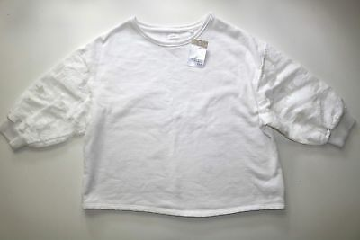 Next Floral Lace Embroidered White Cotton Long Sleeves Jumper Top Girls 12 Years