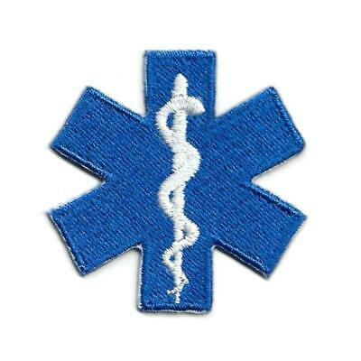 "STAR OF LIFE IRON ON PATCH 1.75"" Paramedic Medical EMT Blue Embroidered Applique"